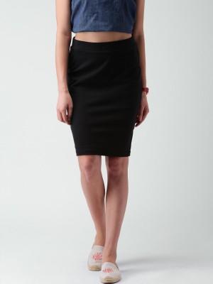 Mast & Harbour Solid Women's Pencil Black Skirt