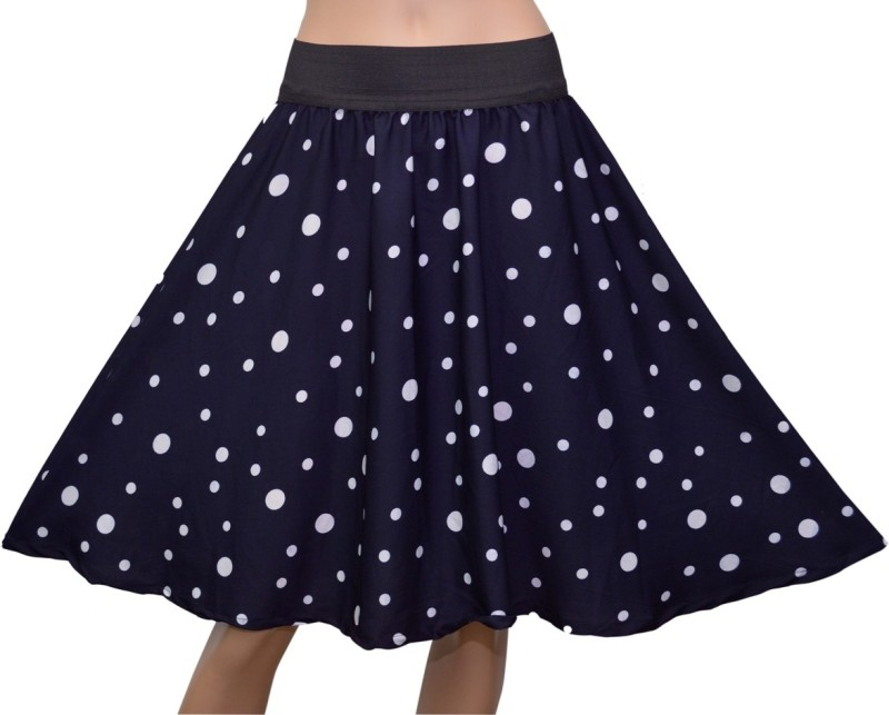 Grace Diva Polka Print Women's Gathered Blue Skirt