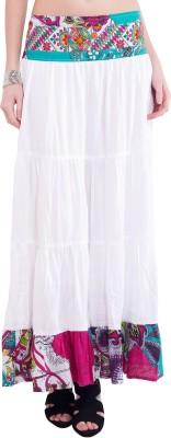 Tuntuk Solid Women's A-line White Skirt