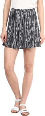 Femella Printed Women's Regular Black Skirt