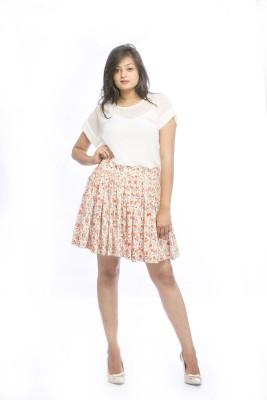 Pinwheel Floral Print Women's Pleated Beige, Orange Skirt
