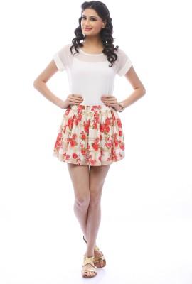 Pinwheel Floral Print Women's Gathered White, Orange Skirt