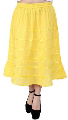 Rvestir Solid Women's A-line Yellow Skirt