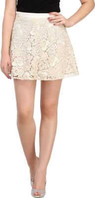My Addiction Self Design Women's A-line Gold Skirt