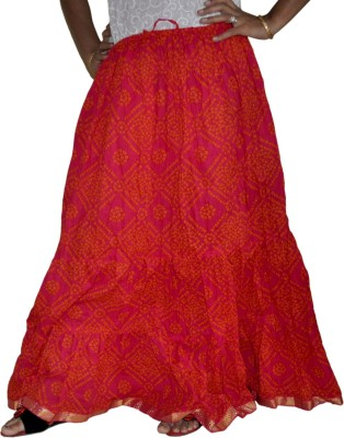 Home Shop Gift Printed Women,s Broomstick Red Skirt