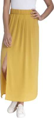 Only Solid Women's Regular Yellow Skirt at flipkart