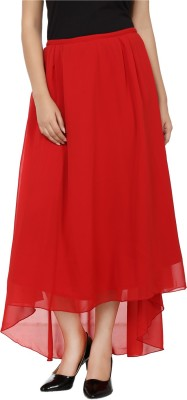 Tops and Tunics Solid Women's Asymetric Red Skirt