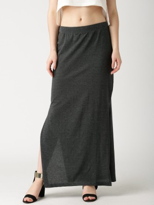 Dressberry Solid Women's Pencil Grey Skirt