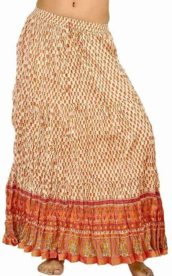 Indiangiftemporium Printed Women's Regular White, Orange Skirt