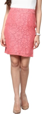 Abiti Bella Self Design Women's Pencil Pink Skirt