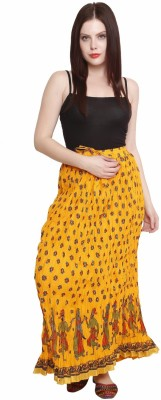 Pistaa Printed Women's A-line Yellow Skirt
