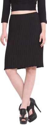La Stella Solid Women's Pleated Black Skirt