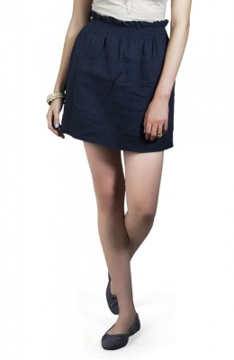 Cottonworld Solid Women's A-line Dark Blue Skirt