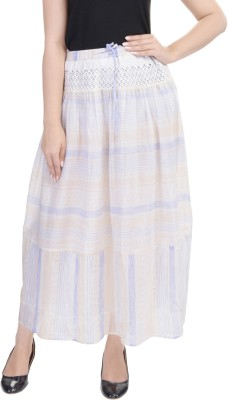Goodwill Impex Printed Women's Straight Blue Skirt