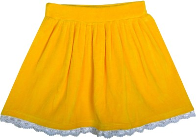 Lil Orchids Solid Baby Girl's Gathered Yellow Skirt