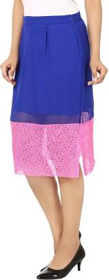 Vivaa Solid Women's Straight Pink, Blue Skirt