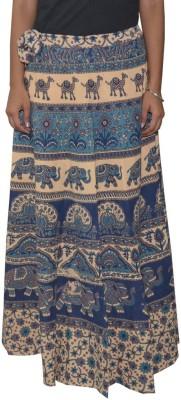 Shreeka Printed Women's Wrap Around Blue, Brown Skirt