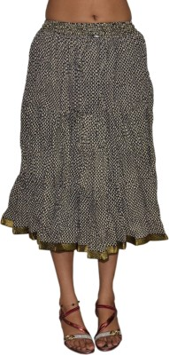 Pezzava Printed Women's Broomstick Black, White Skirt at flipkart