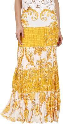 Svt Ada Collections Floral Print Women's Regular Yellow Skirt