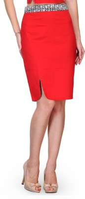 Bumpkin Printed Women's Pencil Red Skirt