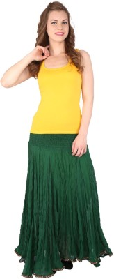 Grand Store Solid Women's Gathered Green Skirt
