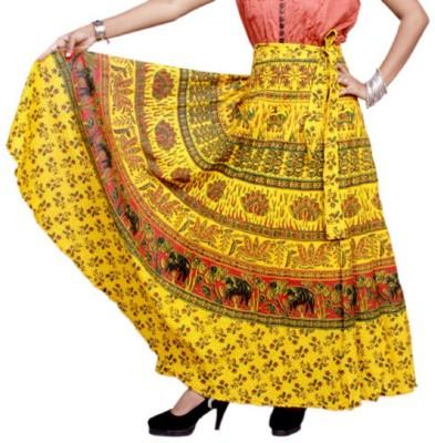 pinksisly Printed Women,s Wrap Around Yellow Skirt