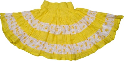 Retaaz Floral Print Girl's Broomstick Yellow, White Skirt