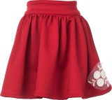 Le Luxe Self Design Girls Gathered Red S...