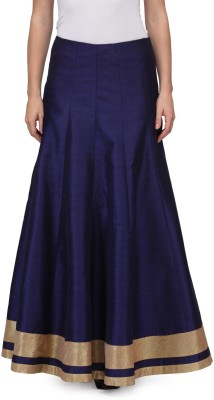 A Click Away Solid Women's A-line Blue Skirt