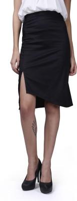 GarrB Solid Women's Pencil Black Skirt