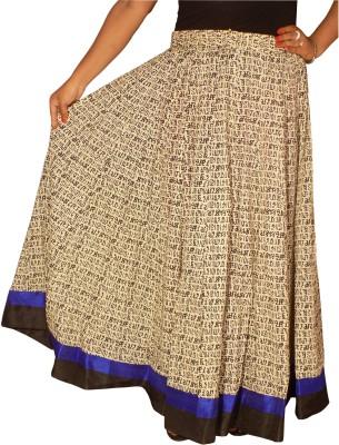 KheyaliBoutique Graphic Print Women's Gathered Beige Skirt
