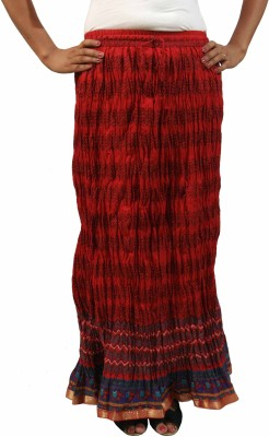 Saffron Craft Printed Women's Gathered Red Skirt