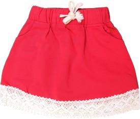 Magneto Solid Girls A-line Pink Skirt