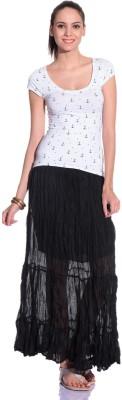 Styleava Solid Women's Regular Black Skirt