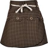 Gkidz Checkered Girls A-line Grey Skirt