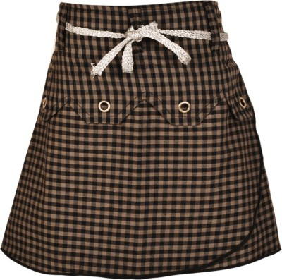 Gkidz Checkered Girl's A-line Grey Skirt