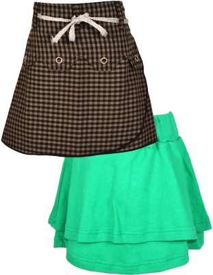 Gkidz Checkered Girl's A-line Green, Red Skirt