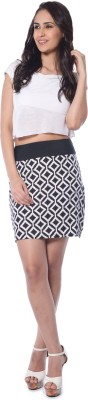 Florriefusion Geometric Print Women,s Pencil Black Skirt
