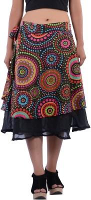 Indi Bargain Geometric Print Women's A-line Black Skirt