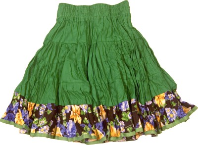 Retaaz Solid, Floral Print Girl's Broomstick Multicolor Skirt