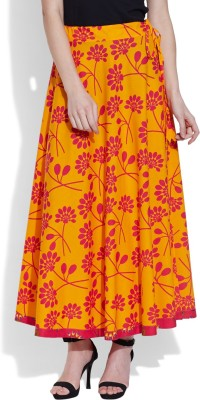 Very Me Floral Print Women's A-line Yellow Skirt