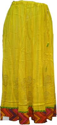 Vg store Self Design Women's Regular Yellow Skirt