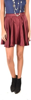Anasazi Solid Women's A-line Maroon Skirt