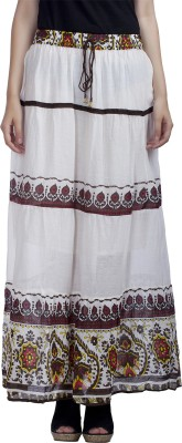 MansiCollections Printed Women's A-line Multicolor, White Skirt