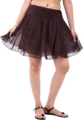 Avon Apparels Solid Women's A-line Black Skirt