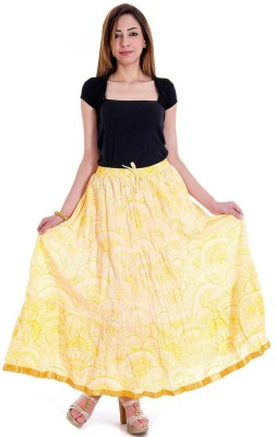 JaipurRaga Printed Women's Wrap Around Yellow Skirt