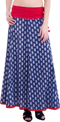 Tuntuk Floral Print Women's A-line Blue Skirt