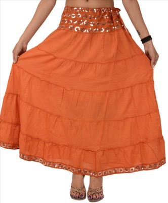 Skirts & Scarves Solid Women's Tiered Brown Skirt