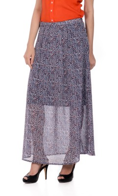 House of Tantrums Printed Women's Pleated Blue, Grey Skirt