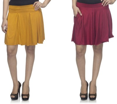 Dee Fashion House Solid Women's Pleated Gold, Maroon Skirt